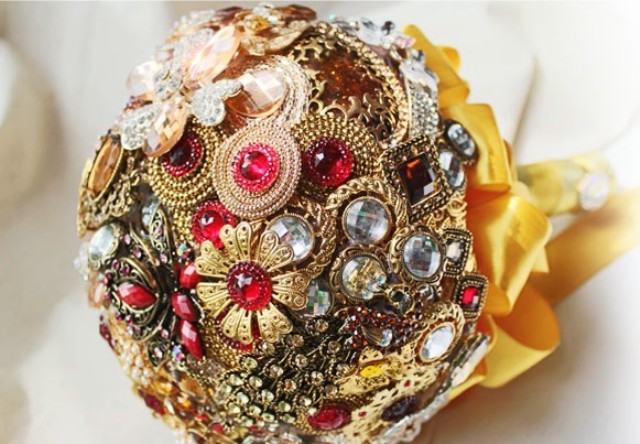 Wedding Brooch Bouquet Nz : Handmade brooch bouquet luxury gold and red custom
