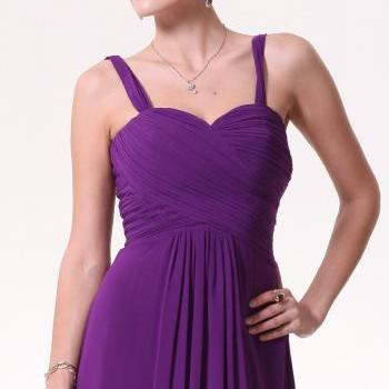 Custom Made Padded Chiffon Knee Length Bridesmaid Dress - Cadbury Eggplant Purple - Sweetheart Neckline with Straps