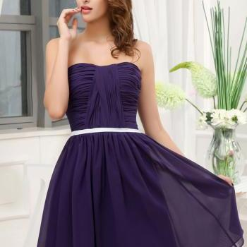 Custom Tailored - A-line Strapless Backless Sweetheart Neckline Pleat Draped Knee-length Chiffon Bridesmaid Dress - Cadbury Eggplant Purple
